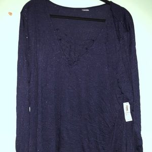 Old navy sparkly blue top